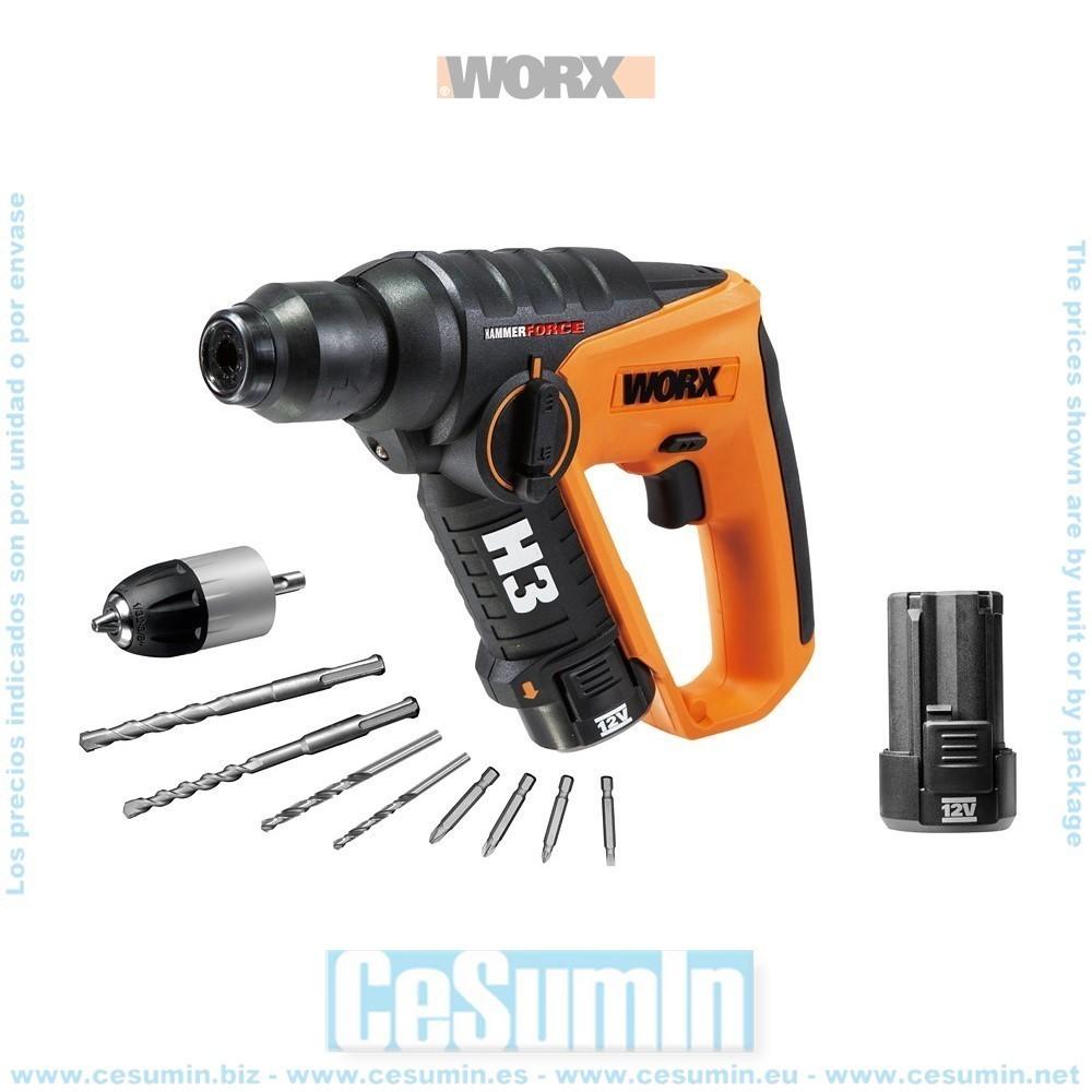 H3 Taladro/Atornillador/Martillo 12V 2Ah 2 baterias - WORX - Ref: WX382.6