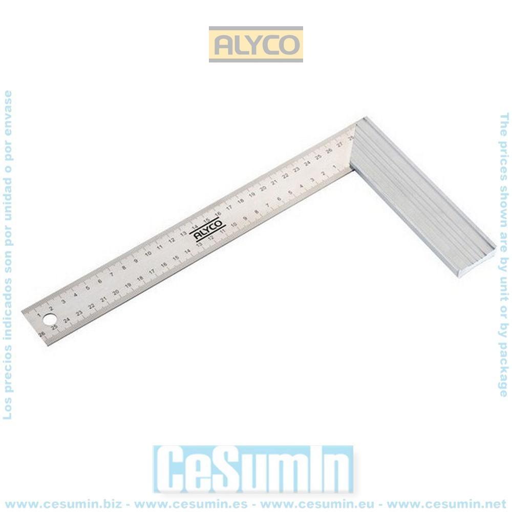 ALYCO 197375 - Escuadra ALYPLUS acero inoxidable graduacion ambos lados de 250x130 mm