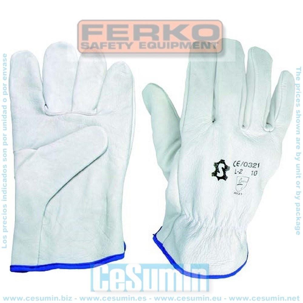 FERKO F-005BC-10 - Guante piel flor vacuno color blanco talla 10