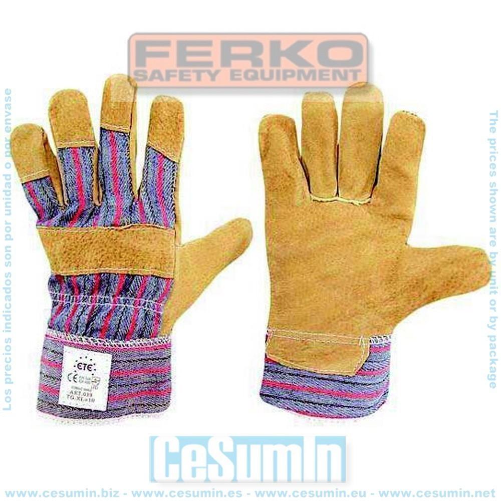 FERKO F-039-9 - Guante 88 psb piel flor de cerdo 100% algodón talla 9
