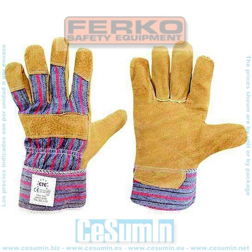 FERKO F-039-10 - Guante 88 psb piel flor de cerdo 100% algodón talla 10