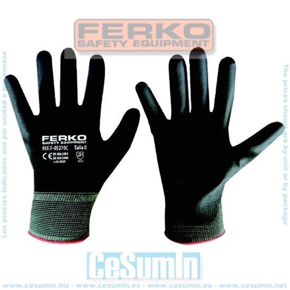 FERKO F-05270C-9 - Guante nylon recubierto de poliuretano gris talla 9