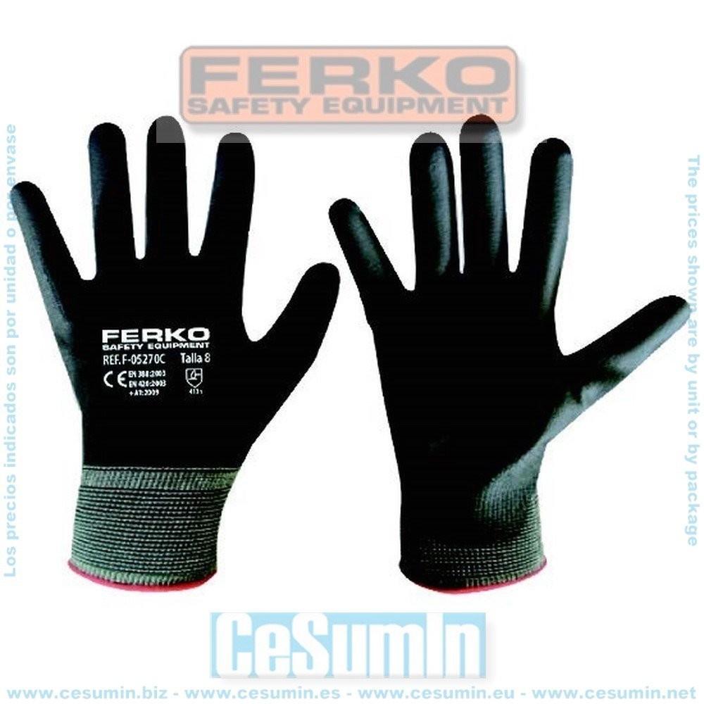 FERKO F-05270C-10 - Guante nylon recubierto de poliuretano gris talla 10