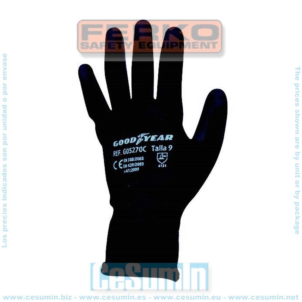 FERKO G05270C-8 - Guante hilo continuo elástico recubierta la palma en poliuretano negro. Talla 8