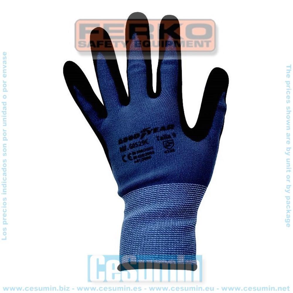 FERKO G0529C-8 - Guante de nylon recubierta la palma en nitrilo negro con puntos antideslizantes. Talla 8