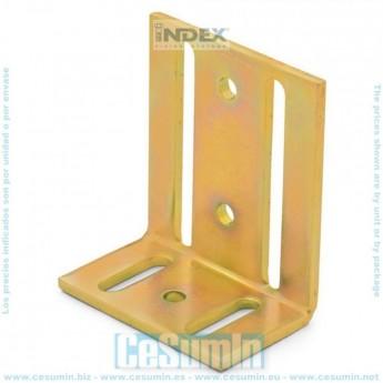 Escuadra de ensamblaje perforada orificios desiguales galvanizada en caliente 70 x 70 x 55 Index SCED070705
