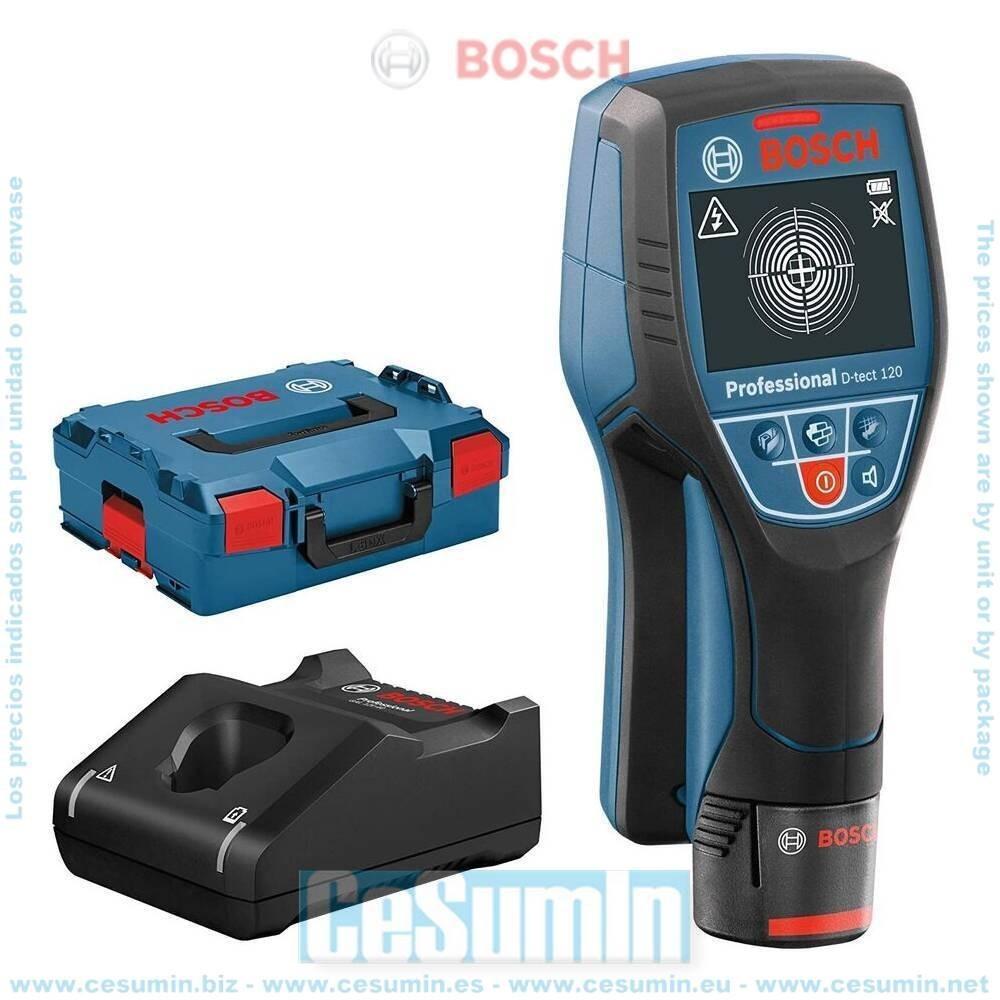 Bosch 0601081301 Detector digital para paredes D-tect 120 + batería 2.0Ah + cargador GAL 12V-40 + L-Boxx