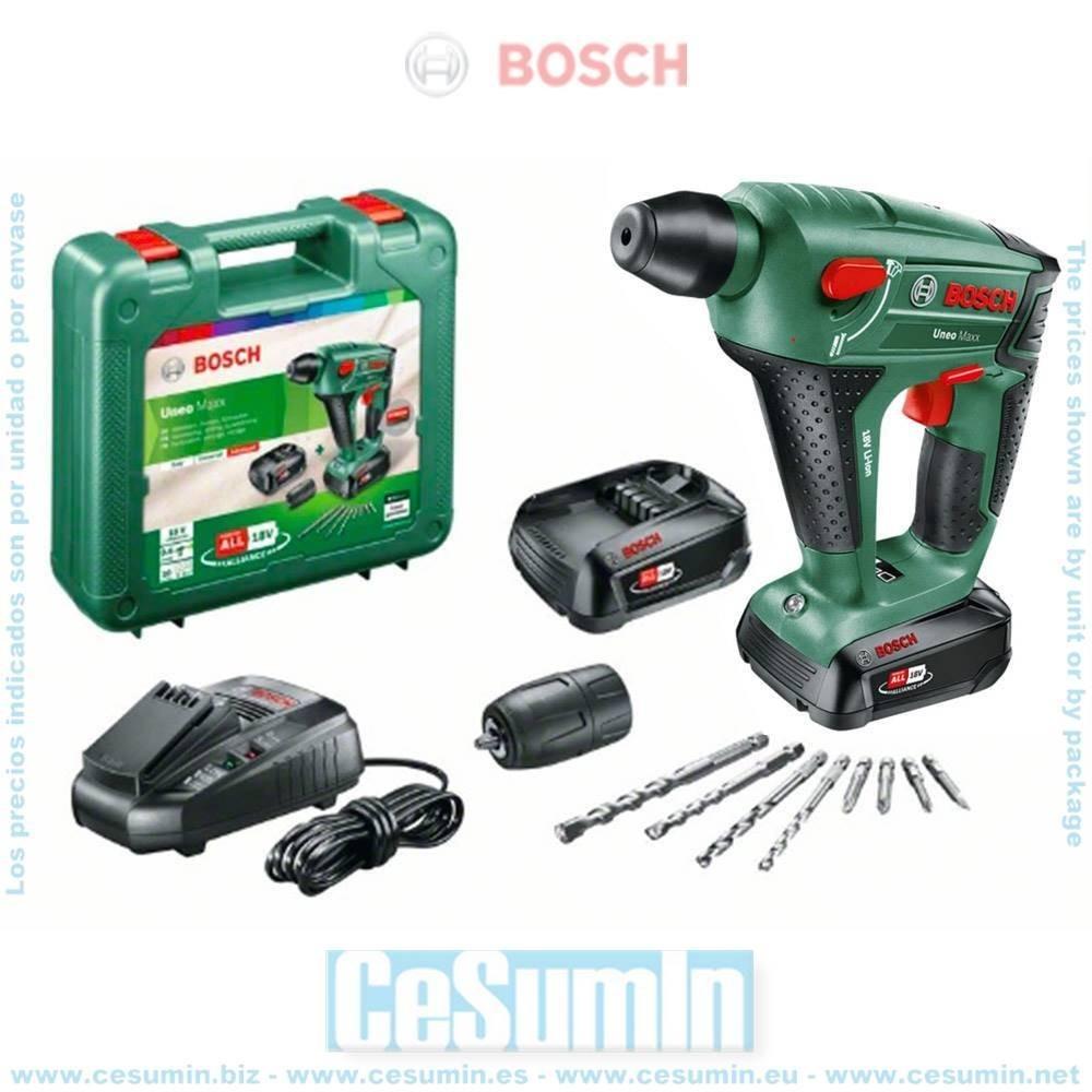 Bosch 0603952327 Martillo perforador a batería 3 en 1 Uneo Maxx 18V SDS-Quick + 2 baterías 2,5Ah + cargador + maletín