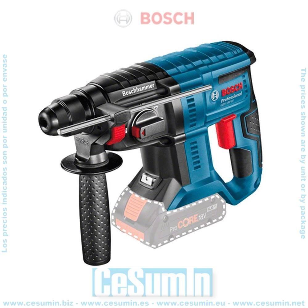 Bosch 0611911000 Martillo perforador a batería GBH 18V-20 SDS Plus 1,7J + caja cartón sin batería ni cargador